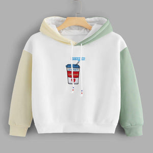 Graphic Embroidered Contrast Sleeve Hoodie