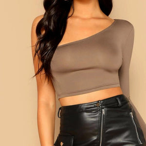 Fashion Casual Women Solid One Shoulder Crop Top