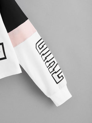 Color-block Letter Graphic Drawstring Hoodie