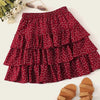 Fashion Casual Women's Heart Print Layered Ruffle Skirt