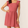 Fashion Casual Women Tie Back Ruffle Trim Dress