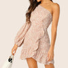 Fashion Casual Women Ditsy Floral One Shoulder Lantern Sleeve Ruffle Dress