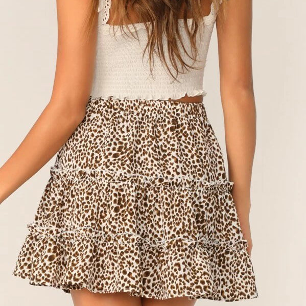 Fashion Casual Women Tiered Cheetah Skirt