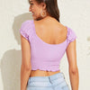 Fashion Casual Women's Self-Tie Smocked Crop Milkmaid Top