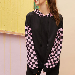 Contrast Checked Kangaroo Pocket Front Drawstring Hoodie