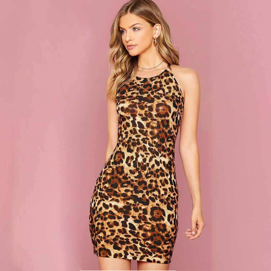 Fashion Casual Women Leopard Crisscross Open-Back Mini Dress
