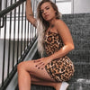 Fashion Casual Women Leopard Print Cami Bodycon Dress