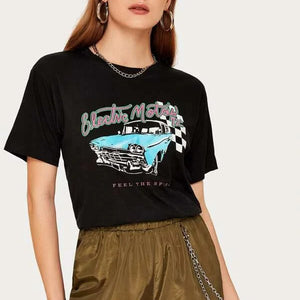 Fashion Casual Women's Car Letter Graphic Short Sleeve Tee