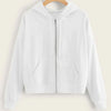 Fashion Casual Women Solid Zip-Up Drawstring Hoodie