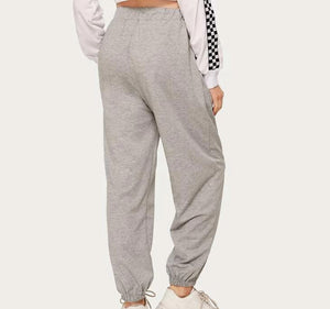 Fashion Casual Women Drawstring Waist Grey Sweatpants