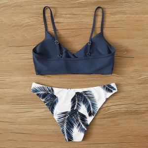Fashion Casual Women Palm Random Print Adjustable Strap Bikini Swimsuit