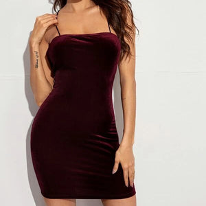 Fashion Casual Women Lace-up Open Back Velvet Bodycon Dress