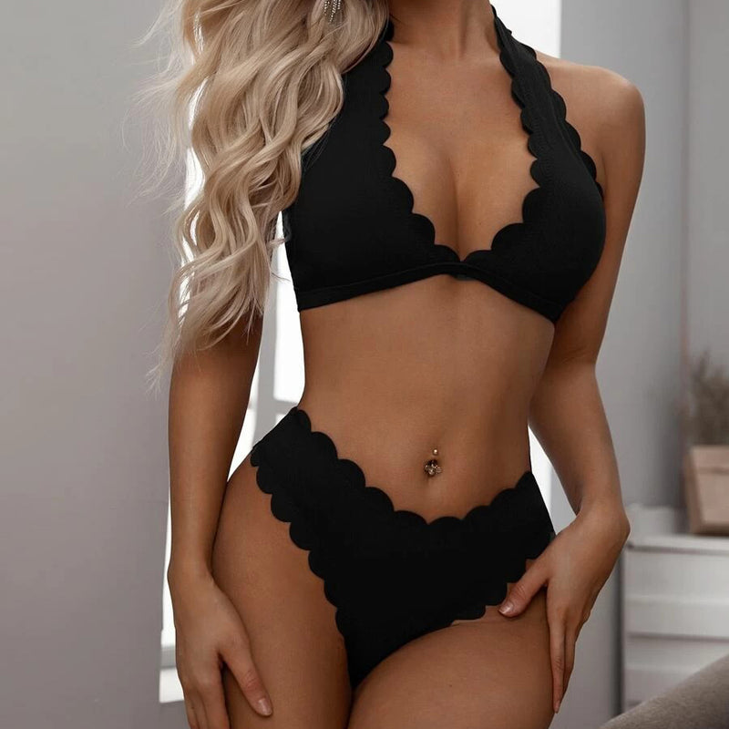 Fashion Casual Women Scallop Trim Halter Bikini Swimsuit