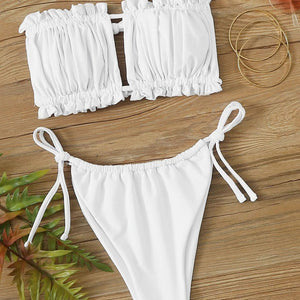 Fashion Casual Women Ruched Bandeau Tie Side Bikini Swimsuit