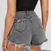 Fashion Casual Women Ripped Raw Edge Denim Shorts