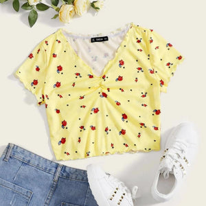 Fashion Casual Women's Lettuce Trim Floral Crop Top