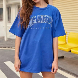 Fashion Casual Women Letter Graphic Oversized Tee