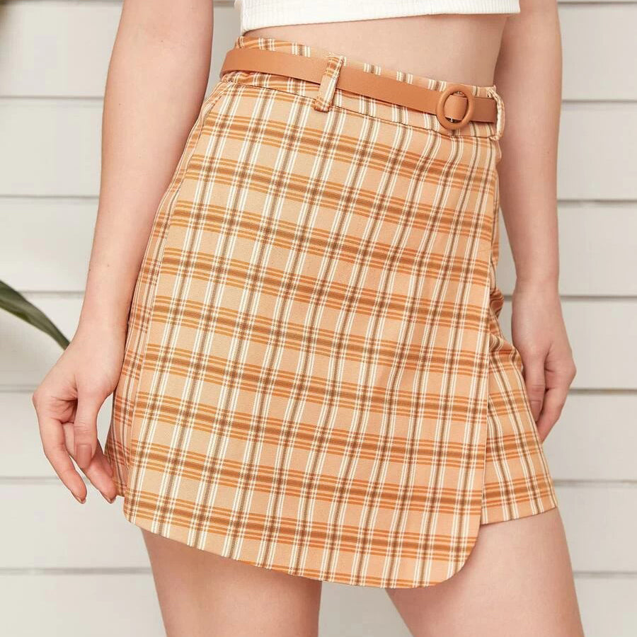 Fashion Casual Women's Plaid Print Belted Wrap Skirt