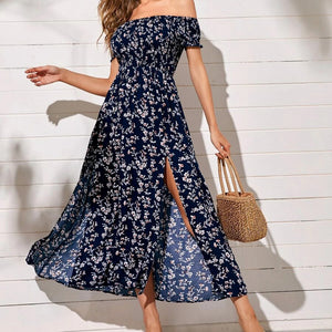 Fashion Casual Women Ditsy Floral Smocked M-Slit Midi Dress