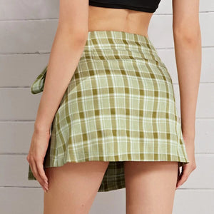 Fashion Casual Women's Tartan Tie Side Wrap Skirt