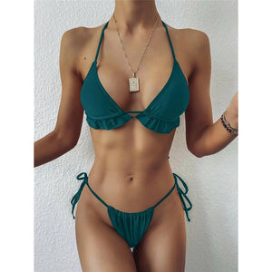 Fashion Casual Women Ruffle Triangle Tie Side Bikini Swimsuit