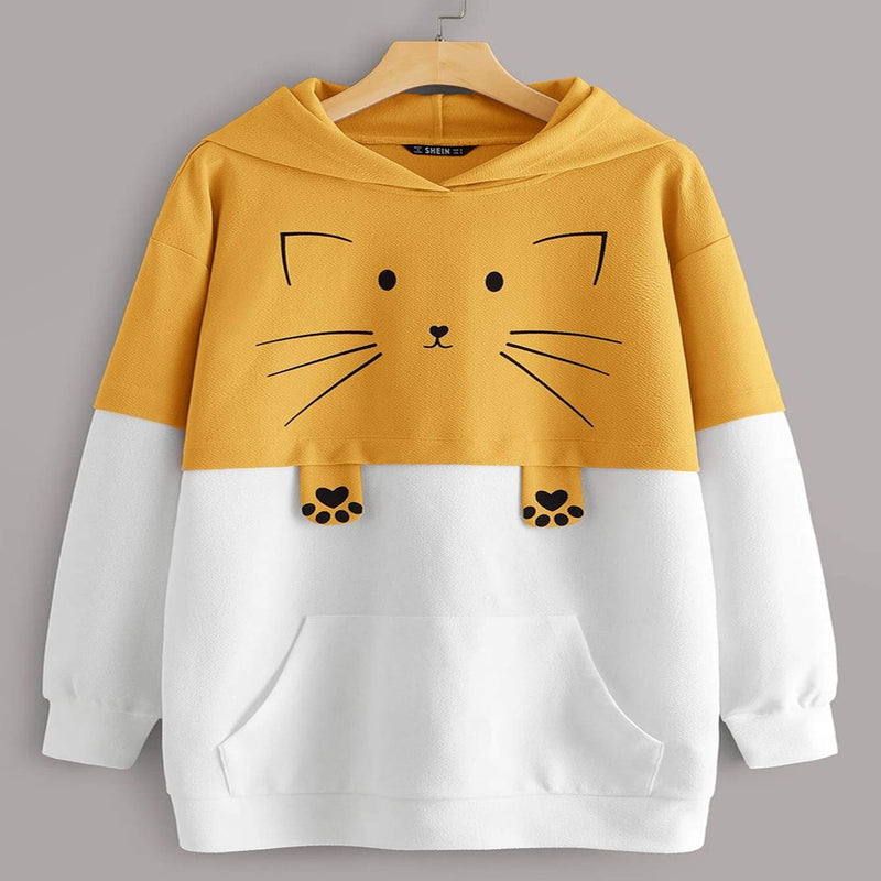 Cat Print Pocket Front Two Tone Hoodie