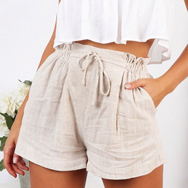Casual Beige Holiday Beach Lace up Thin Shorts Women High Street Stylish Elastic Waist Girl Shorts