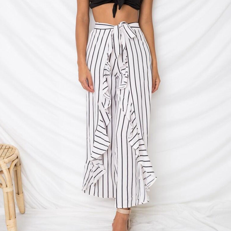 Wide Bow Belt Casual Leg Pants Ruffles Striped Chiffon Women Pants Holiday Pants Vestidos