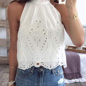 Embroidery Women Tops Blouse Off Shoulder Crop Female Lace up Hollow out Polka Dot Plus Size Shirt
