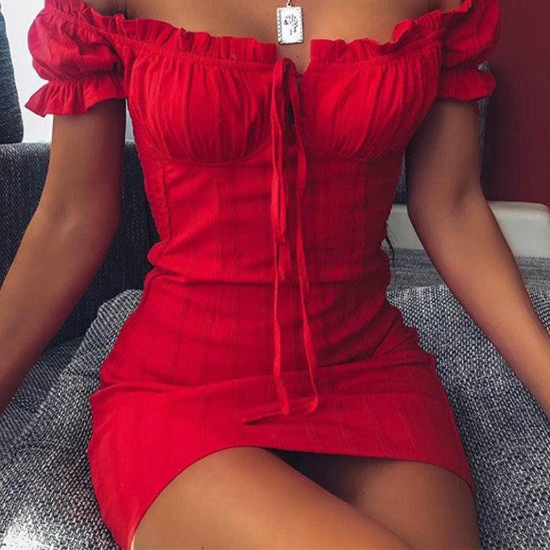 Sexy Off Shoulder Smocked Bodycon Dress Women Strapless Ruffles Mini Red Dresses Ladies Short Party Club Dress Vestidos