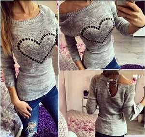 Autumn Long Sleeve Knitted Sweater Women Beading Heart Pullovers Jumper Pull Femme