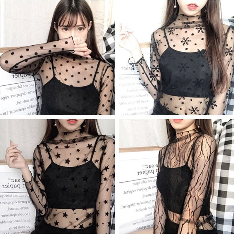 New Women Sexy Harajuku Mesh Tops Net See Through T Shirt Transparent Undershirt Star Base Top Camisas Femininas Clubwear