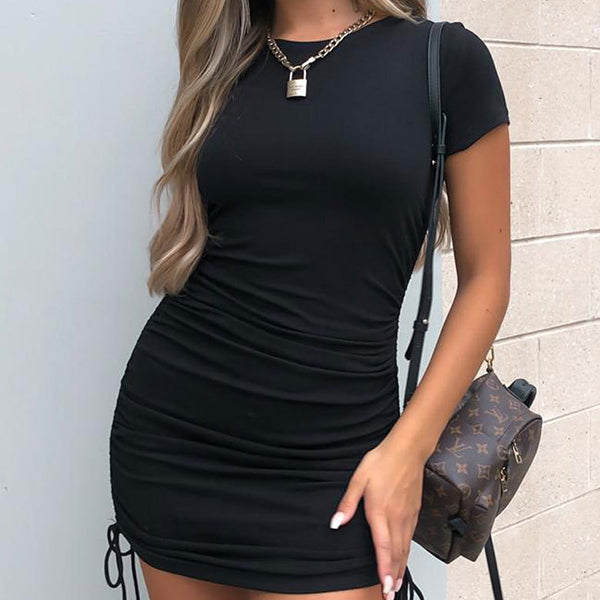 New Sexy women's ribbed drawstring tight round neck short sleeve hip dress