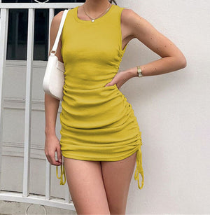 Cotton Ruched Drawstring Sexy Party Dress Women Sleeveless Elastic Mini Dress Vintage Summer Bodycon Club Wear Vestidos