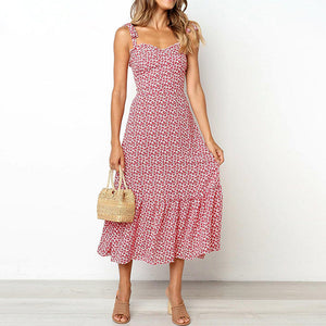 Print Ruffles Mid Dress Women Casual Twist Party Dress Strapless Print Beach Princess Long Dress