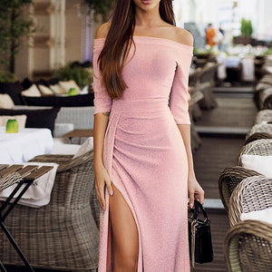 Split Bodycon Off Shoulder Sexy Long Dresses Slim Party Dress Women Elegant Sequined Dress