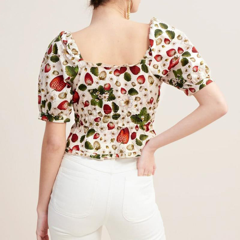 Casual Off Shoulder Strawberry Print Women Crop Tops and Blouse Fashion High Street Square Collar Ruffle Short Shirt