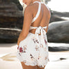 Hollow Out Floral Print Sexy Jumpsuits Women Off Shoulder Beach Short Rompers Boho Jumpsuits