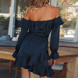 Ruffles Lace Up Off Shoulder Women Dress Bow Long Sleeve Dress Bow Short Party Satin Dress