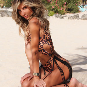 Sexy Leopard One Piece Swimsuit Women Tassel Swimwear Push Up Monokini Cut Out Bathing Suit