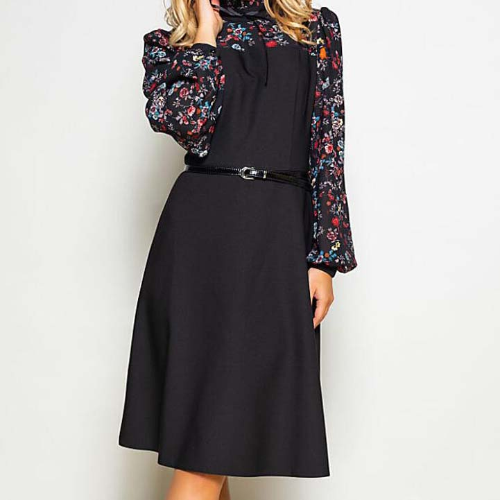 Women Autumn Fashion Vintage A-line Dress NO Belt Elegant Flower Print Patchwork Dress Slim Working Dress Wear Office
