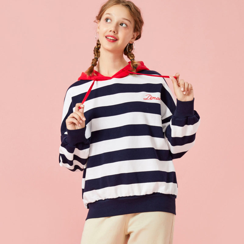 Women Oversized Striped Hooded Sweatshirt Embroidered Pullover Hoodie with Contrasted Drawstring Hood Ribbed Cuffs and Hem