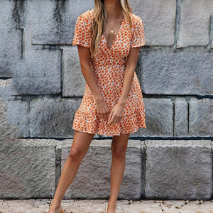 Chic Flower Print V Neck Skater Dress Women Boho Beach Mini Dress Spring Summer Print Dress