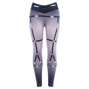 3D Binding Printing Fleshcolor Women Sexy Yoga Pants Elastic Fitness Gym Workout Running Tight Sport Leggings Female Trousers