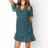 Elegant Short Ruffle Polka Dot Dress Women Summer Elegant Casual Beach Dress Female Daily Sashes Bow Dress Vestidos