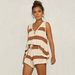 Elegant Striped Knitted Short Playsuit Summer Women Elegant Jumpsuit Romper 2 Pieces Set Beach Casual Overalls