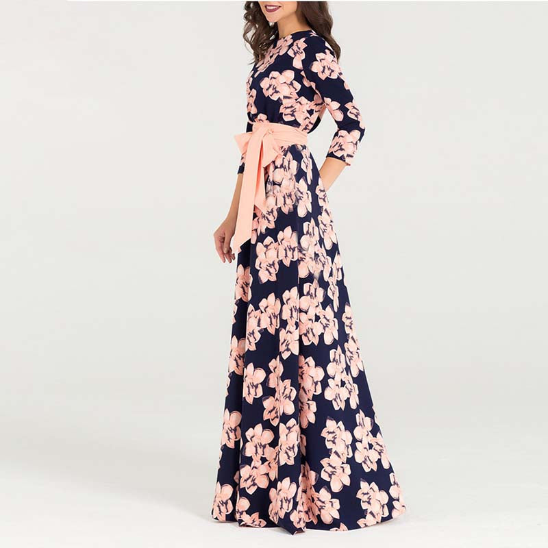 Women Printing Autumn Maxi Dress Elegant O-neck Loose Long Party Dress for Female Hot Sale Women Vestidos No Pockets
