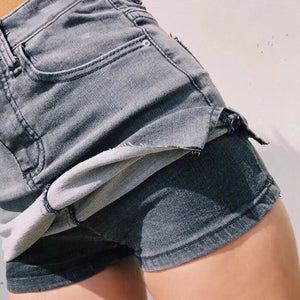 Black Blue Denim Shorts Skirts for Women Sexy High Waist Side Split Bodycon Shorts Streetwear Fashion Slim Bottoms