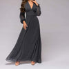 Women Dress Deep V-neck Sexy Long Sleeve Chiffon Long Dress Spring Summer Vestidos