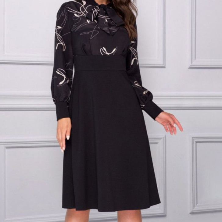 Women Elegant Print Long Sleeve Dresses Autumn Vintage A Line Party Dress New Arrival Fashion Casual Dress